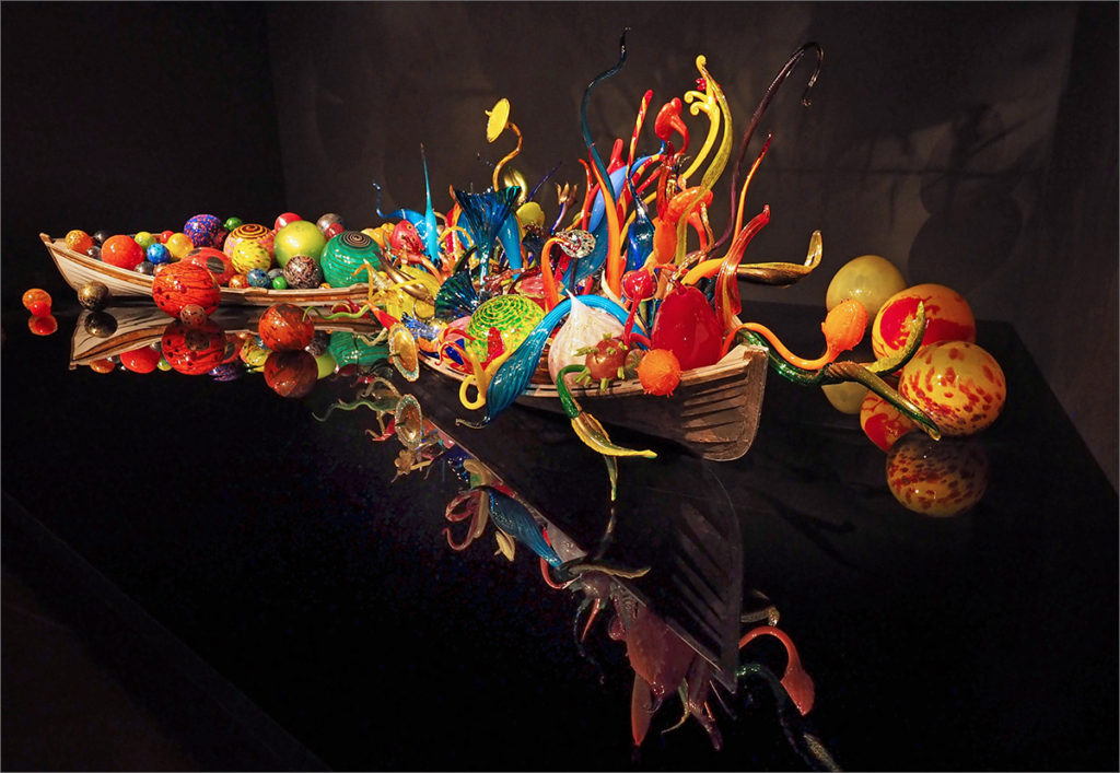 Boats and glass balls at Chihuly Garden and Glass Museum