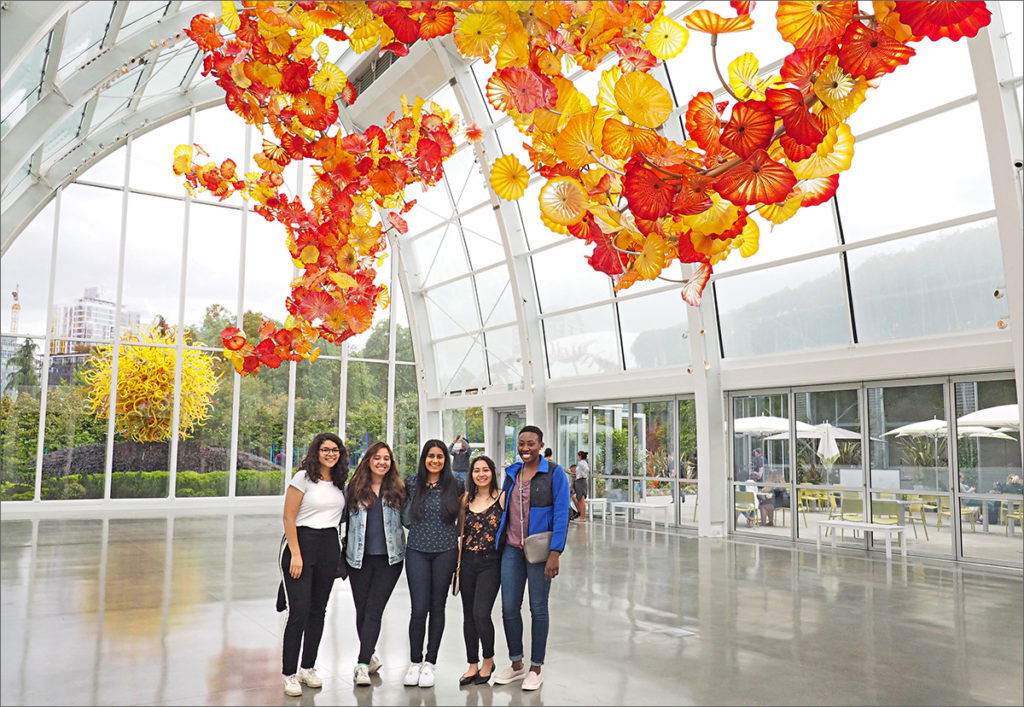 Inside the glass house at the base of Seattle's Space Needle