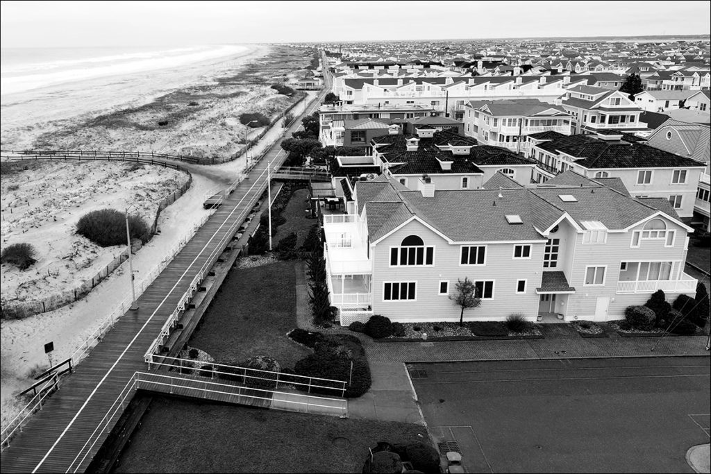 Ocean City, NJ, houses crowded along the shoreline