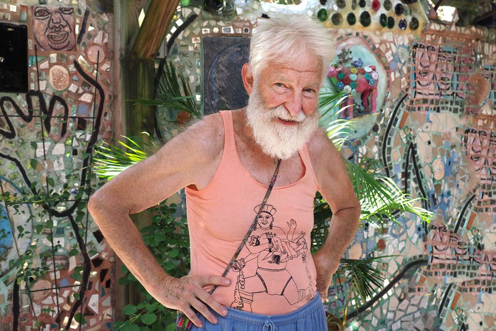 Artist Isaiah Zagar in his element