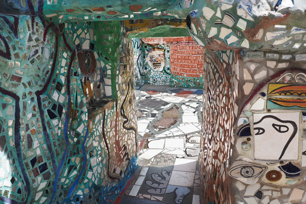 A tunnel of mosaic artworkers in the Magic Gardens