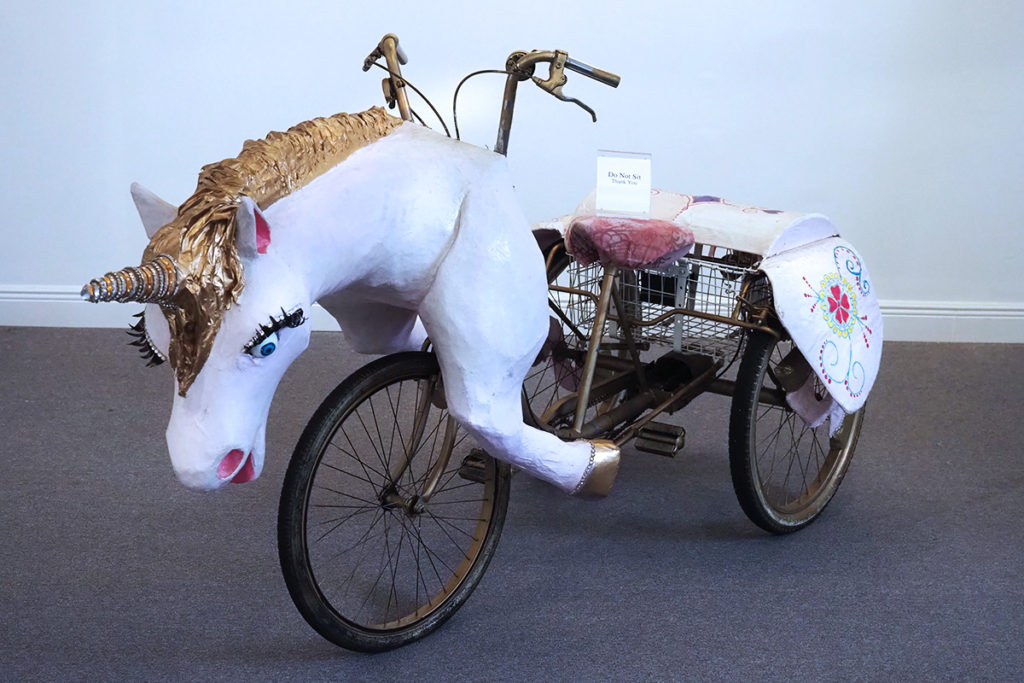 A unicorn to be pedaled in the New Orleans parade