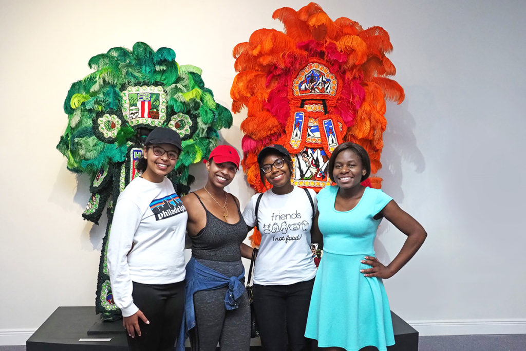 College students at the Mardi Gras Museum in New Orleans