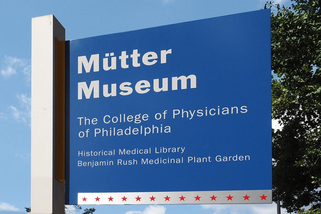 Mütter Museum sign on 22nd Street in Philadelphia