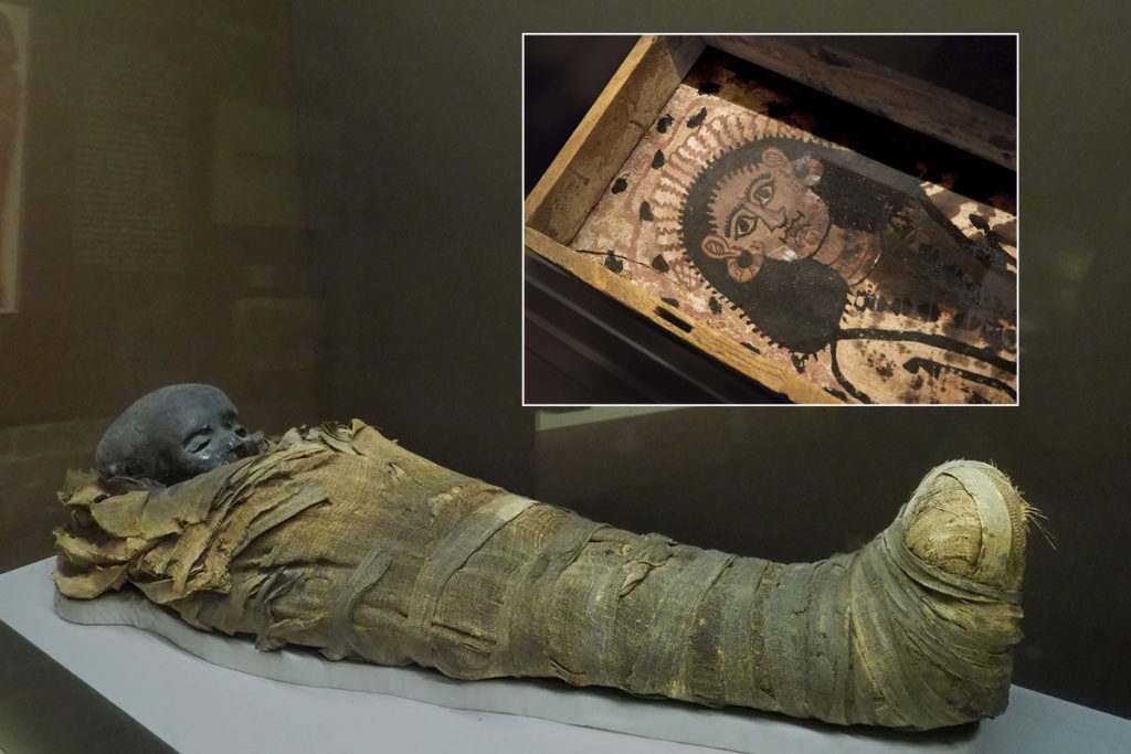 Mummy of a child who died 2,500 years ago.