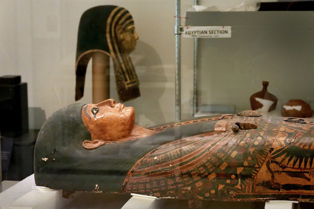 Ornate mummy coffin lid from the Greco-Roman period of Egyptian history.