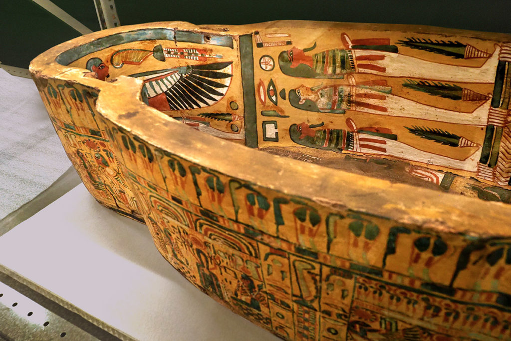 Wooden coffins were easier to hide from Egyptian grave robbers seeking mummies.