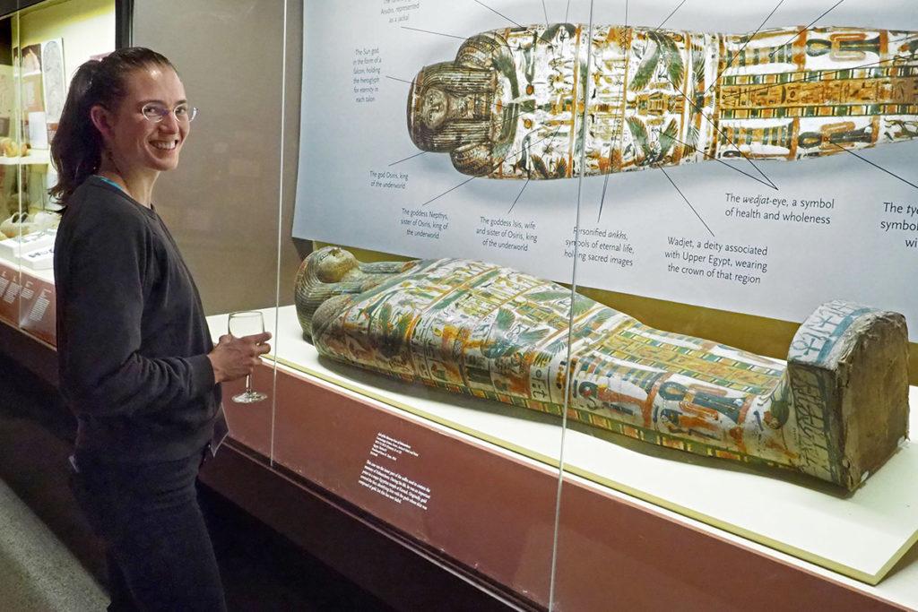 MIT economist Ariel Zucker visits the Penn mummy exhibit of a Karnak priest of ancient Egypt.