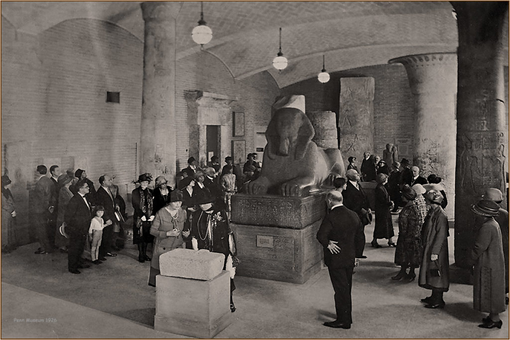 The original unveiling of the mass Penn Sphinx in 1926.