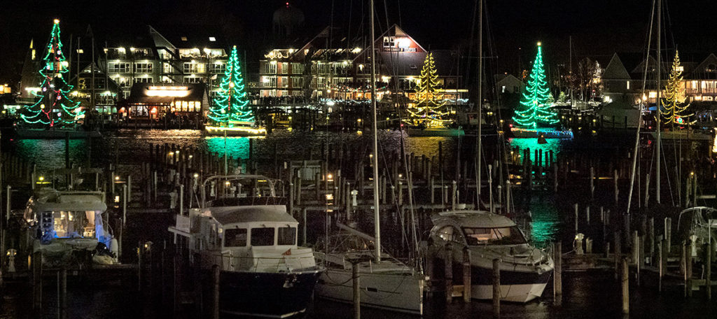 Eastport Yacht Club Lights Parade 2019 floating trees