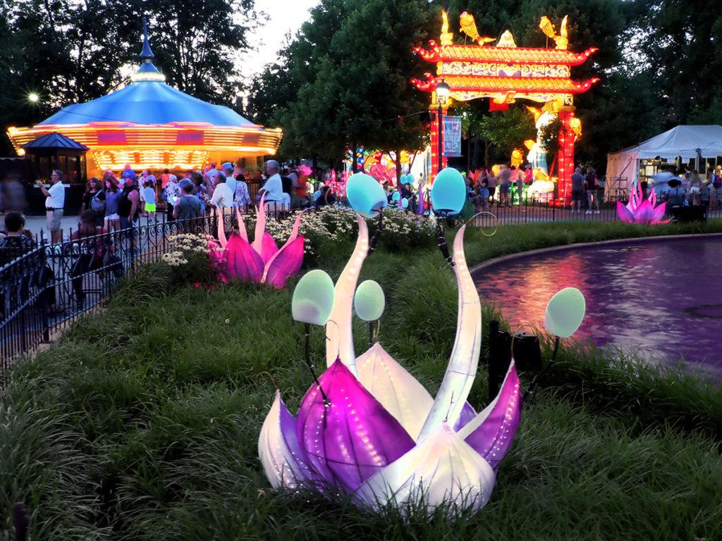 Plant-like lantern sculptures at the Philadelphia Chinese Lantern Festival