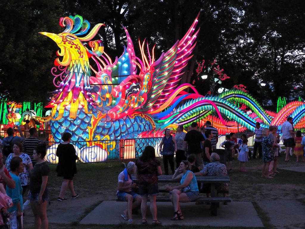 Three-story high illuminated Phoenix figure at Philadelphia Chinese Lantern Festival