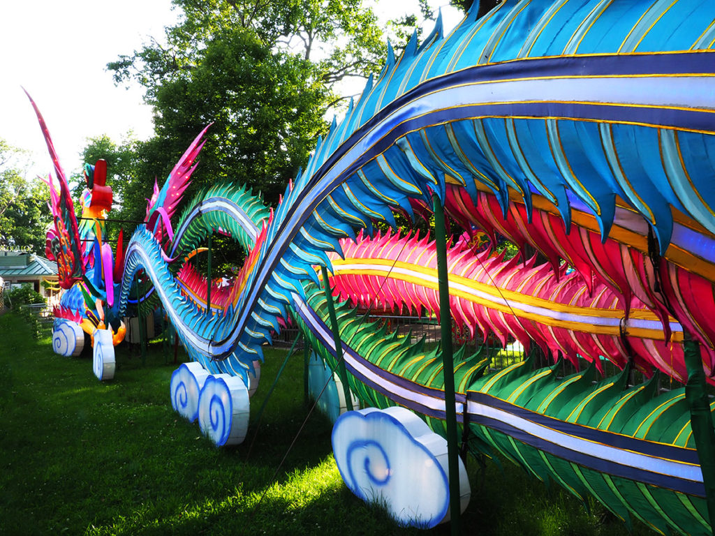 Enormous tail of giant illuminated Phoenix at Philadelphia Chinese Lantern Festival