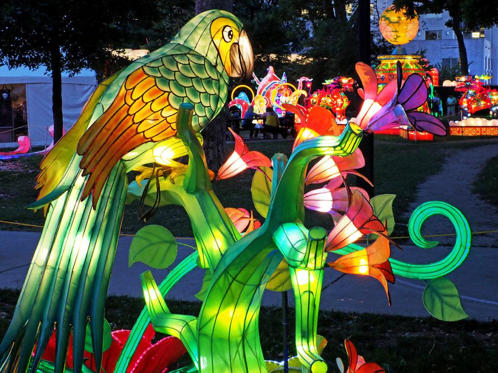 Parrot lantern sculpture at Philadelphia Chinese Lantern Festival