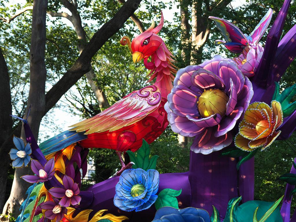 Large Phoenix and flowers sculpture at Philadelphia Lantern Festival
