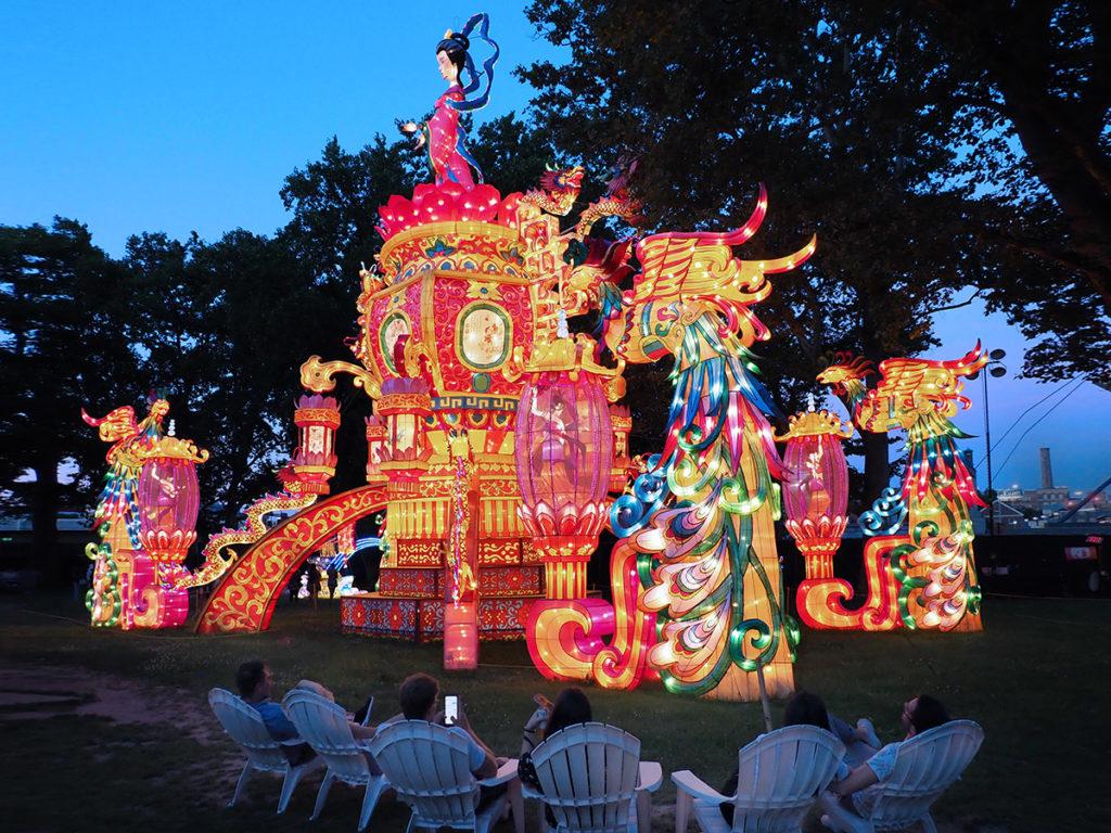 Ornate, four-story-high magic princess structure at Philadelphia Chinese Lantern Festival