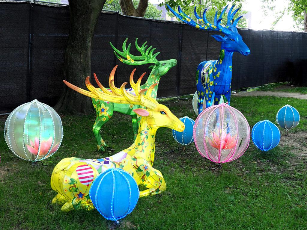 Nine colored elk figures at Philadelphia Chinese Lantern Festival