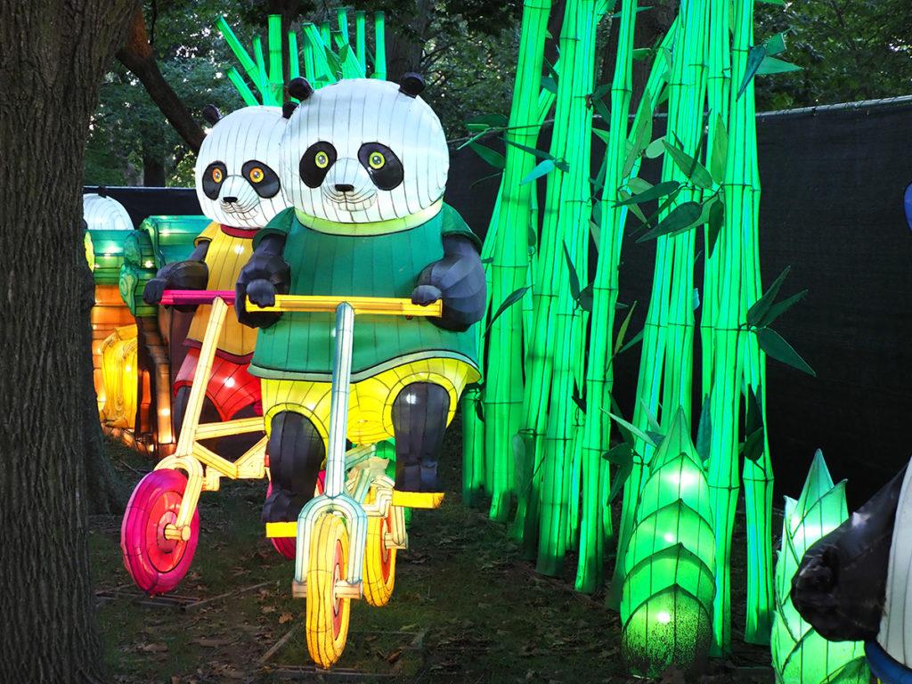 Pandas riding bicycles at Philadelphia Chinese Lantern Festival