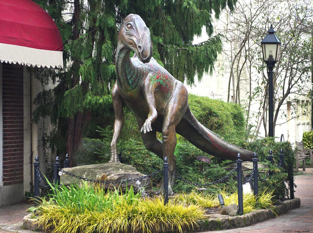 The sculpture of Haddonfield's historic dinosaur, Hadrosaurus foulkii