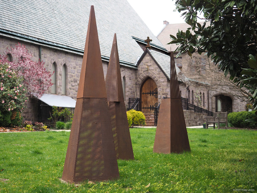 The sculpture Three States of Being at Grace Episcopal Church in Haddonfield, NJ