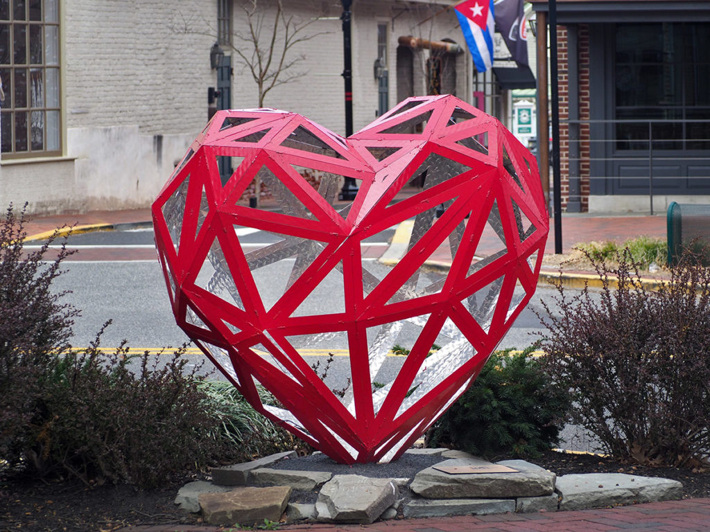 "The sculpture ""Red Heart"" by M.L. Duffy in Haddonfield, NJ"