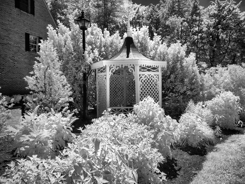 A gazebo and garden in Haddonfield, NJ
