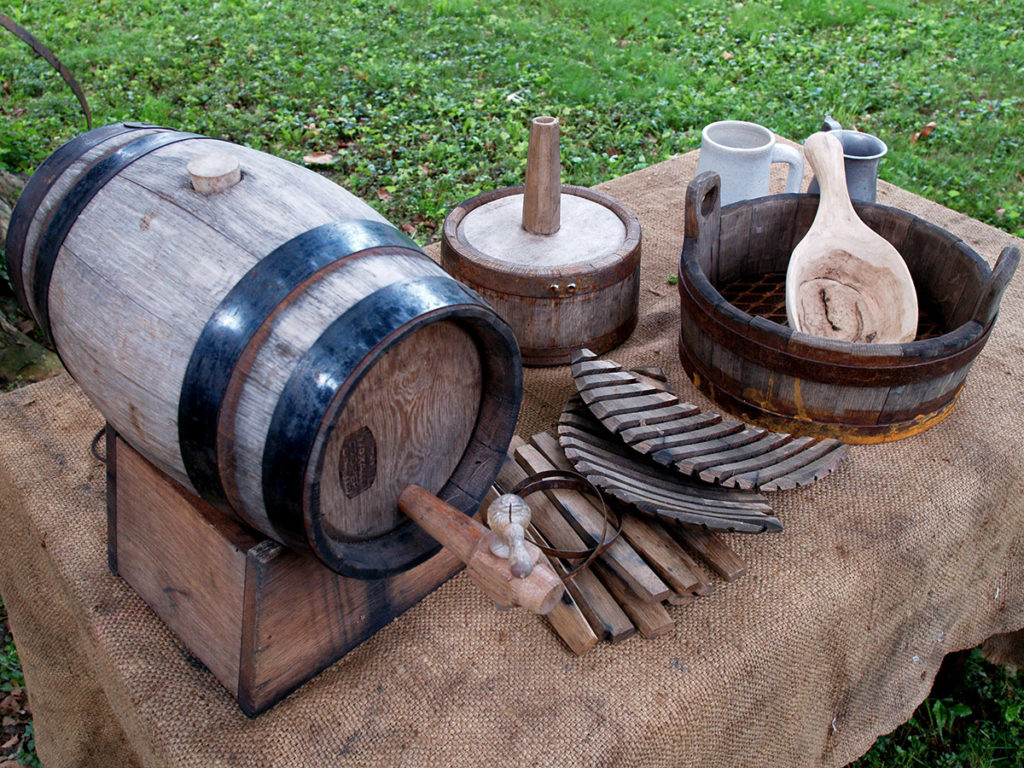 Wooden Colonial beer making equipment