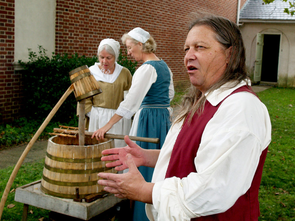 Richard Wagner, Ann Wagner, and Mercy Ingraham at 18th-century beer making demonstration