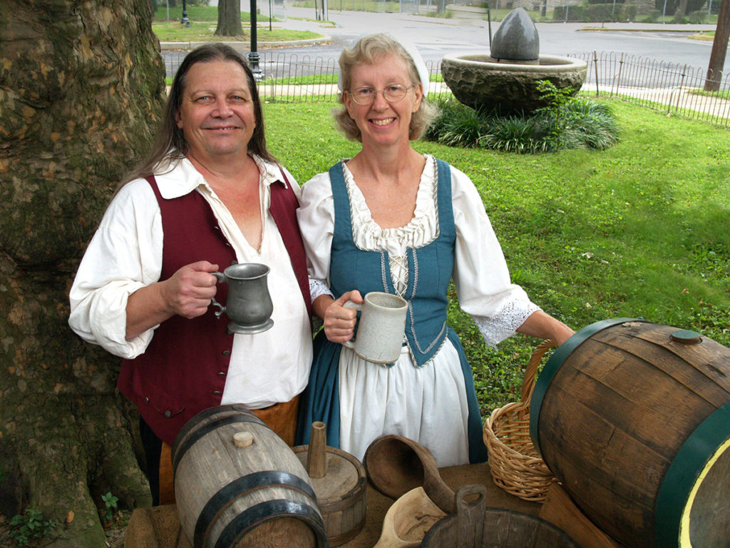 Richard and Ann Wagner hoist a tankard to old-time beer making.