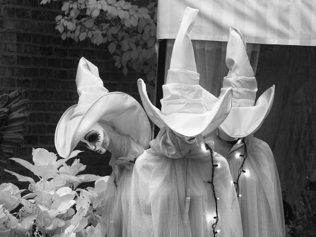 Halloween lawn witches turned white with infrared photography