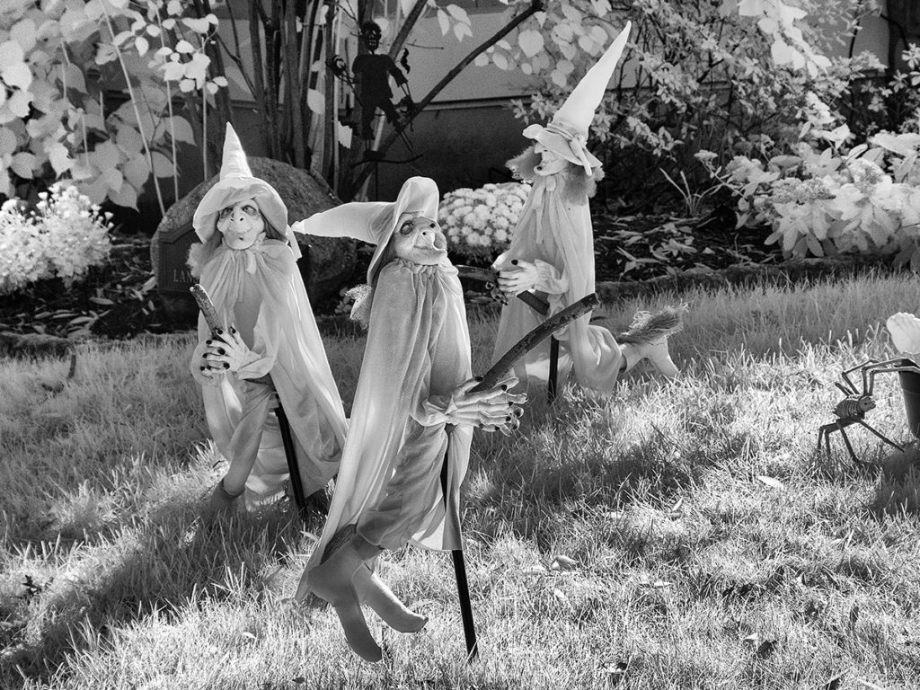 Store-bought Halloween witch figures turned white with infrared photography