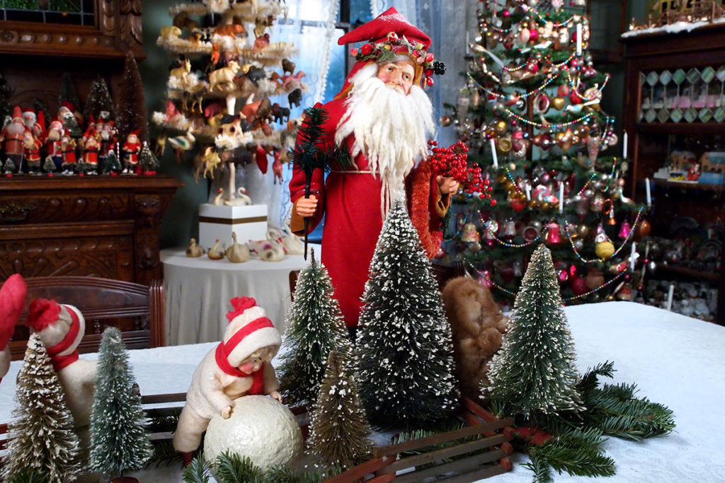 a Father Christmas figure in the Christmas displays of Yvonne Carpenter.