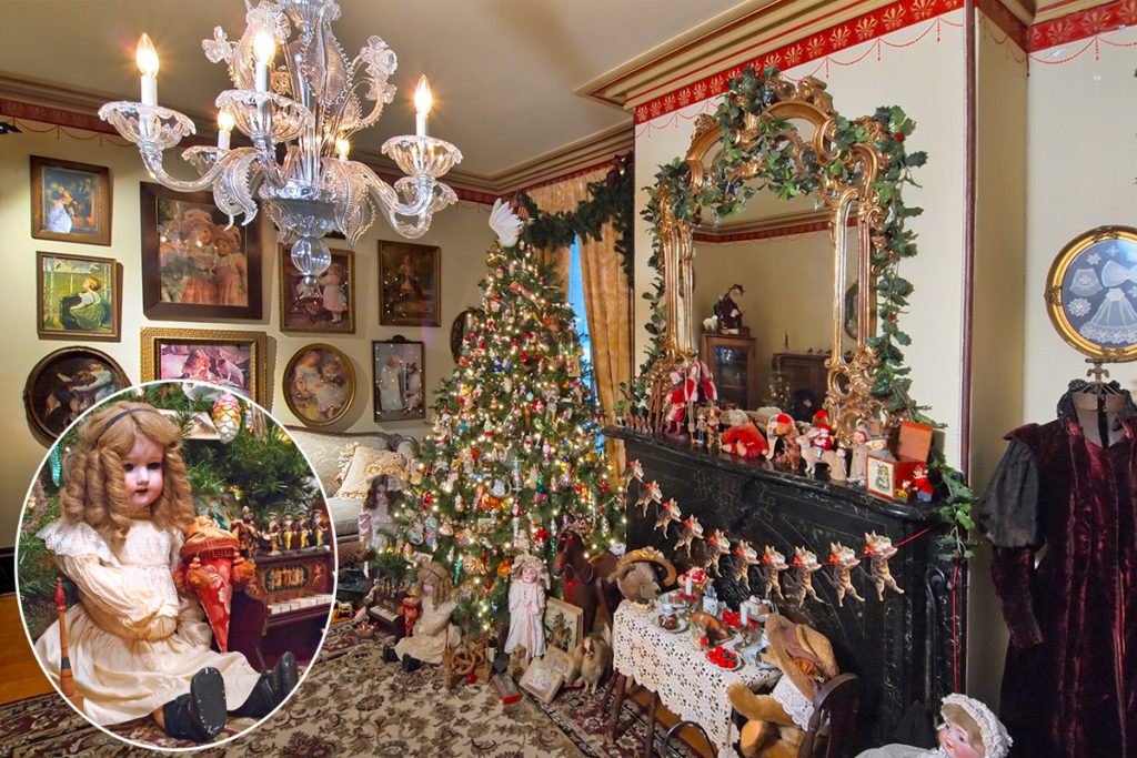 Recreation of a Victorian parlor at Christmas time