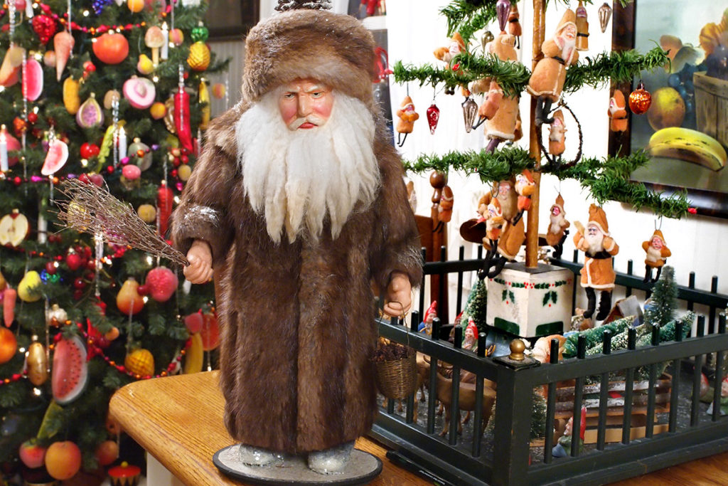A Germanic Christmas belsnickel with twitch in hand to punish bad children