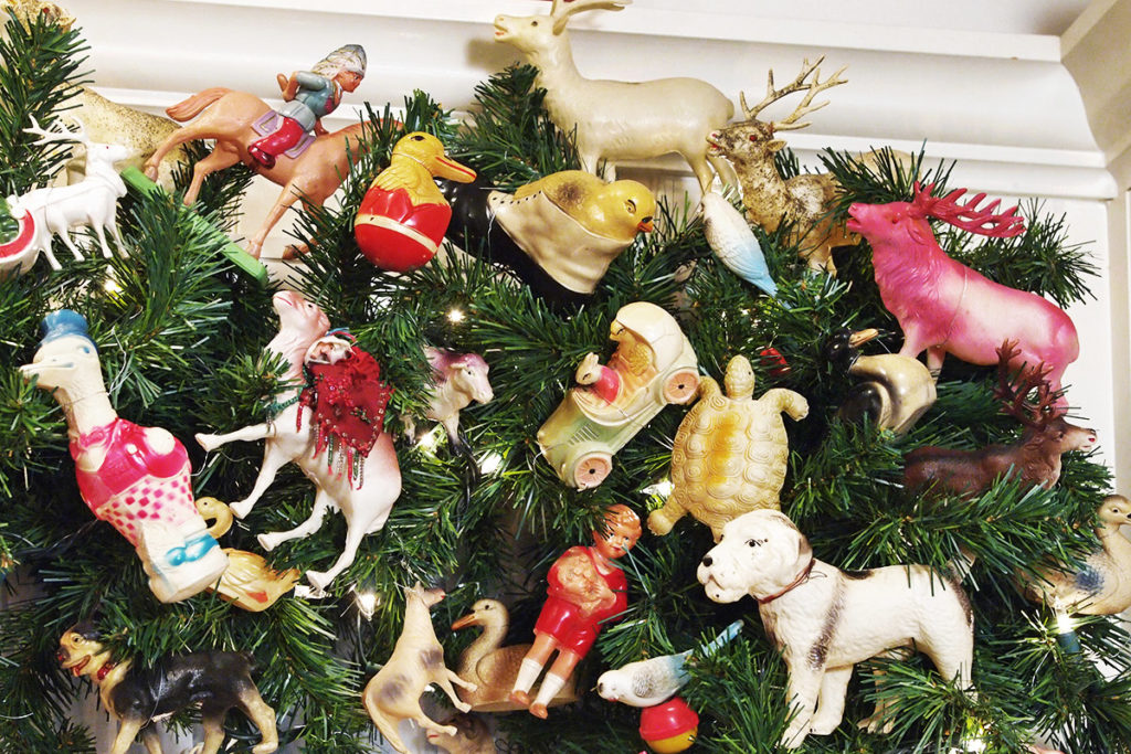 Close-ups of antique celluloid Christmas toys