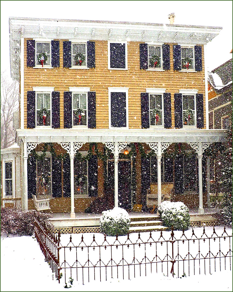 An 1878 Victorian home in Haddonfield, NJ during a Christmas snow storn.