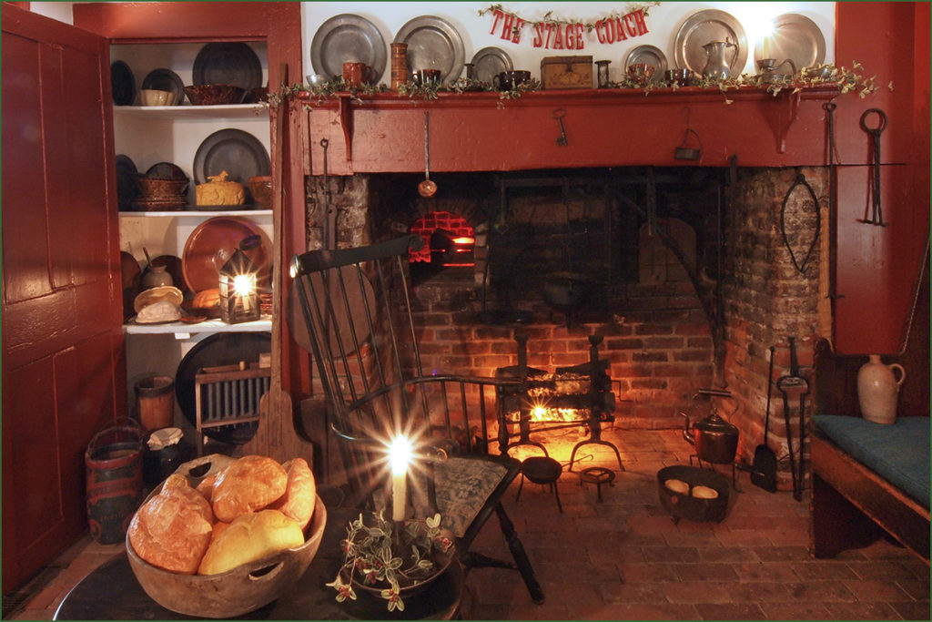 The Wilson-Warner House kitchen became a tavern for the Washington Irving exhibit.