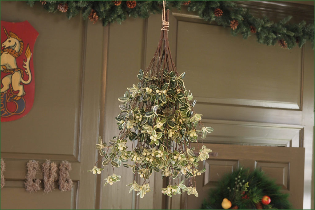 Christmas mistletoe hung in an Odessa historic mansion