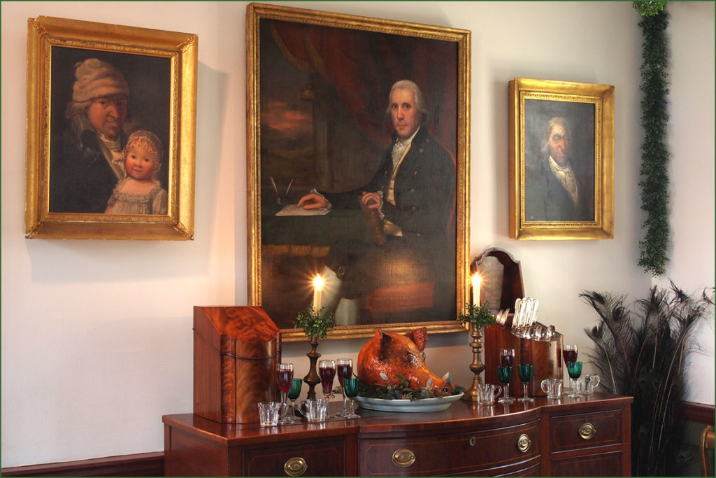 Christmas sideboard at the Wilson-Warner mansion in Odessa, Delaware