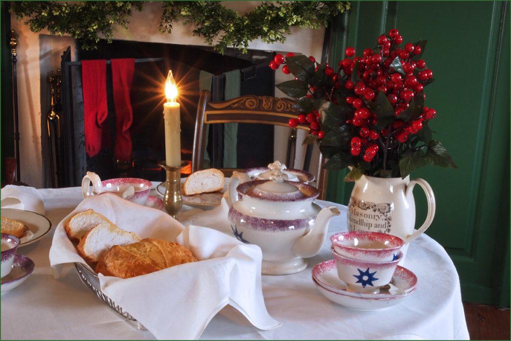 Christmas morning breast table near a hearth.