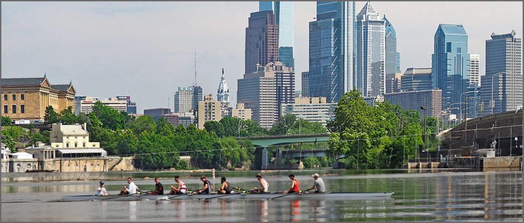 View of Philadelphia skyline from the Schuylkill River rowing course.