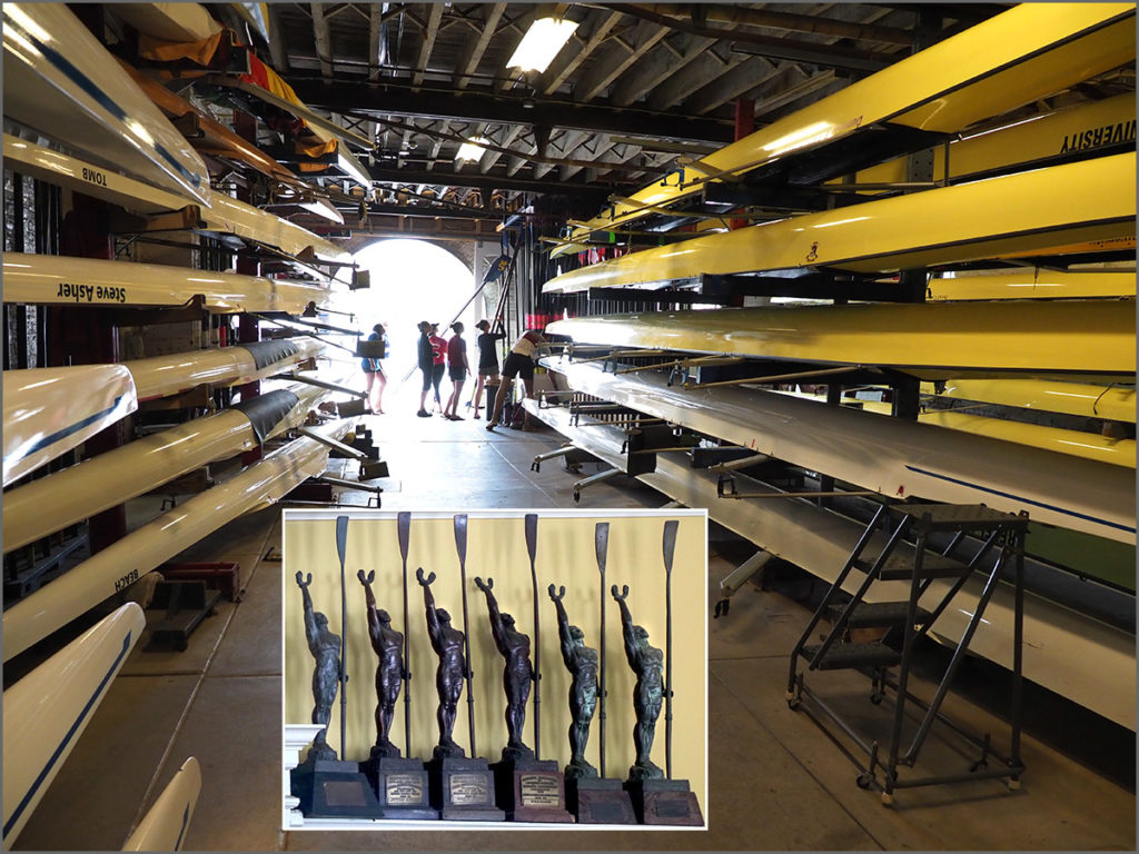 The storage area for racing shells at a Philadelphia boathouse.