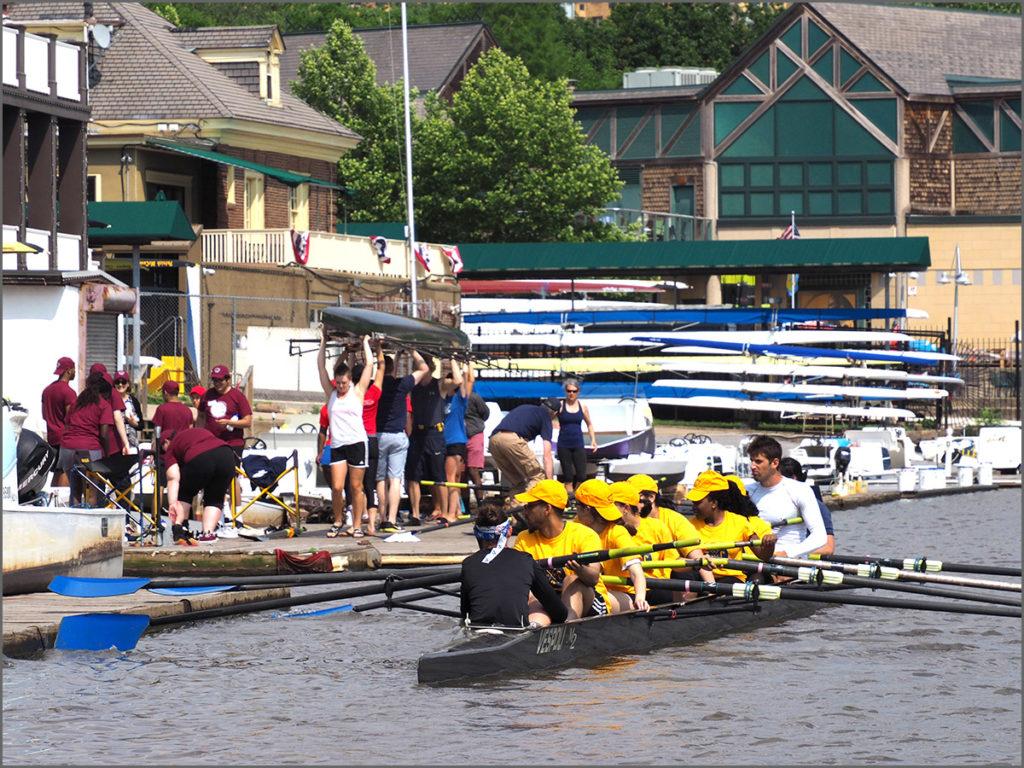 A bustle of activity along the docks of Philadelphia's Boathouse Row.