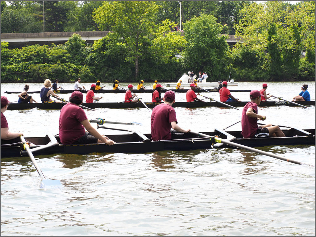 Rowing shells line up for a 500 meter race in Philadelphia.