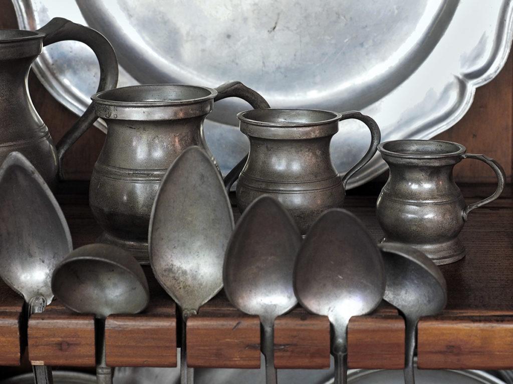 Antique pewter tableware
