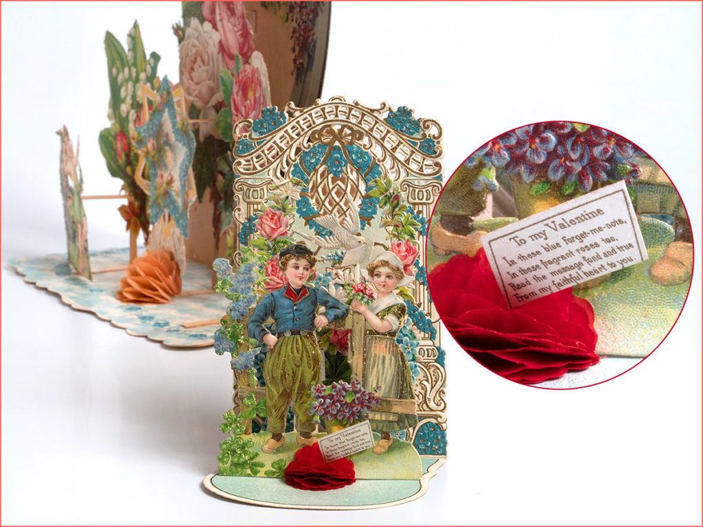 Antique valentine card with multiple layers and a dutch theme