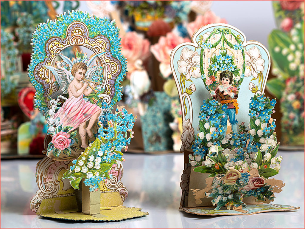 Two antique die-cut cards made in Germany - cherubs, flowers, doves, flutes