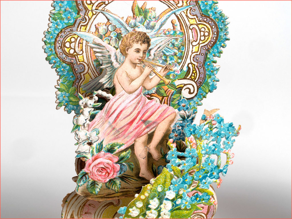 Close up of a cherub playing a flute