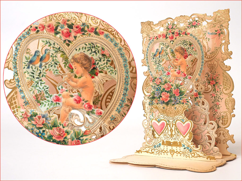 antique three-dimensional Valentine card - cherub, roses, robins, hearts, lace