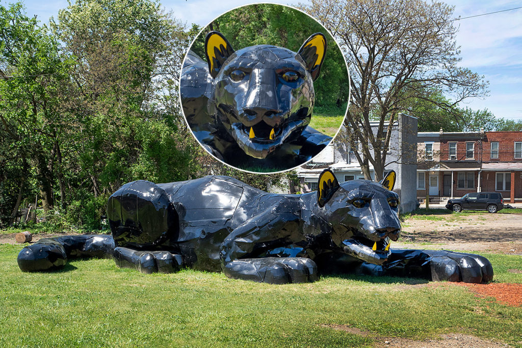 Sprawled on a former illegal dumping site is New View-Camden's 36-foot metal sculpture of a panther called Invincible Cat.